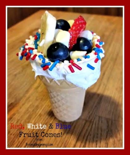 Use fruit instead of ice cream this summer and make red, white and blue fruit cones!