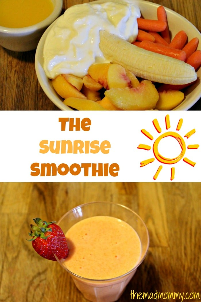 "I make all kinds of variations, but one of my favorites is a fruit and vegetable smoothie that I call, ""The Sunrise"". It is a morning smoothie that I make for my kids and they drink it up! The best part? It's full of carrots and they don't even realize it!"