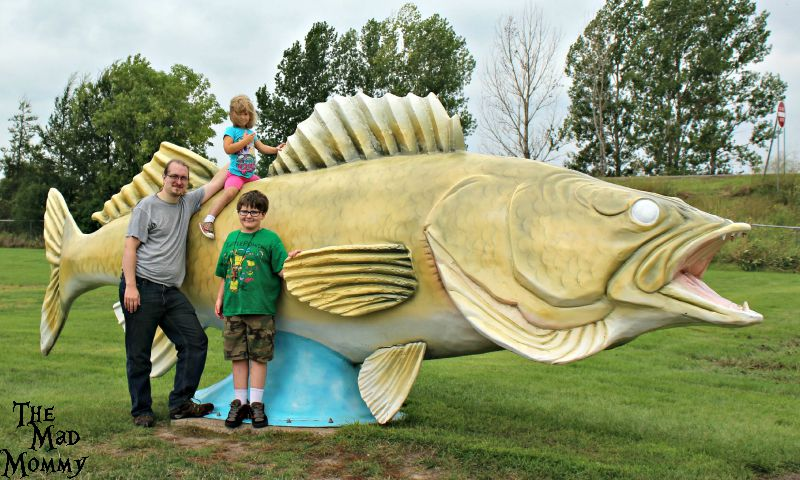 Obligatory, touristy family photo with the World's Largest Walleye in Rush City!