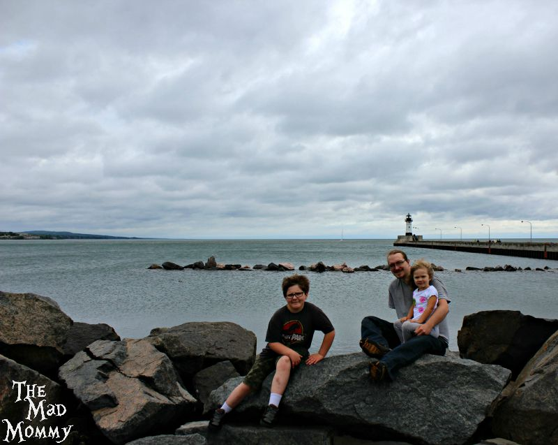 The family on Lake Superior at Canal Park in Duluth