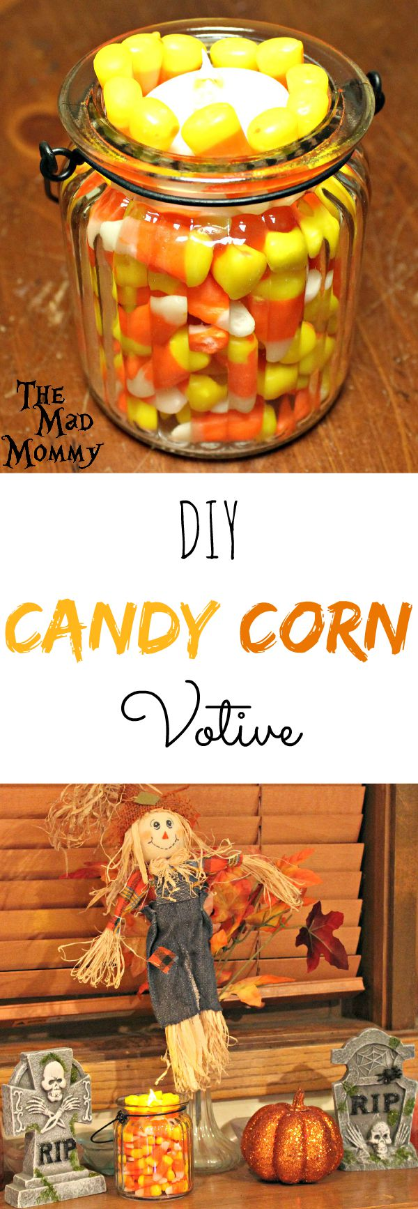 Add a little Halloween Flair to your fall decor with this super cute, but super simple DIY Candy Corn Votive!