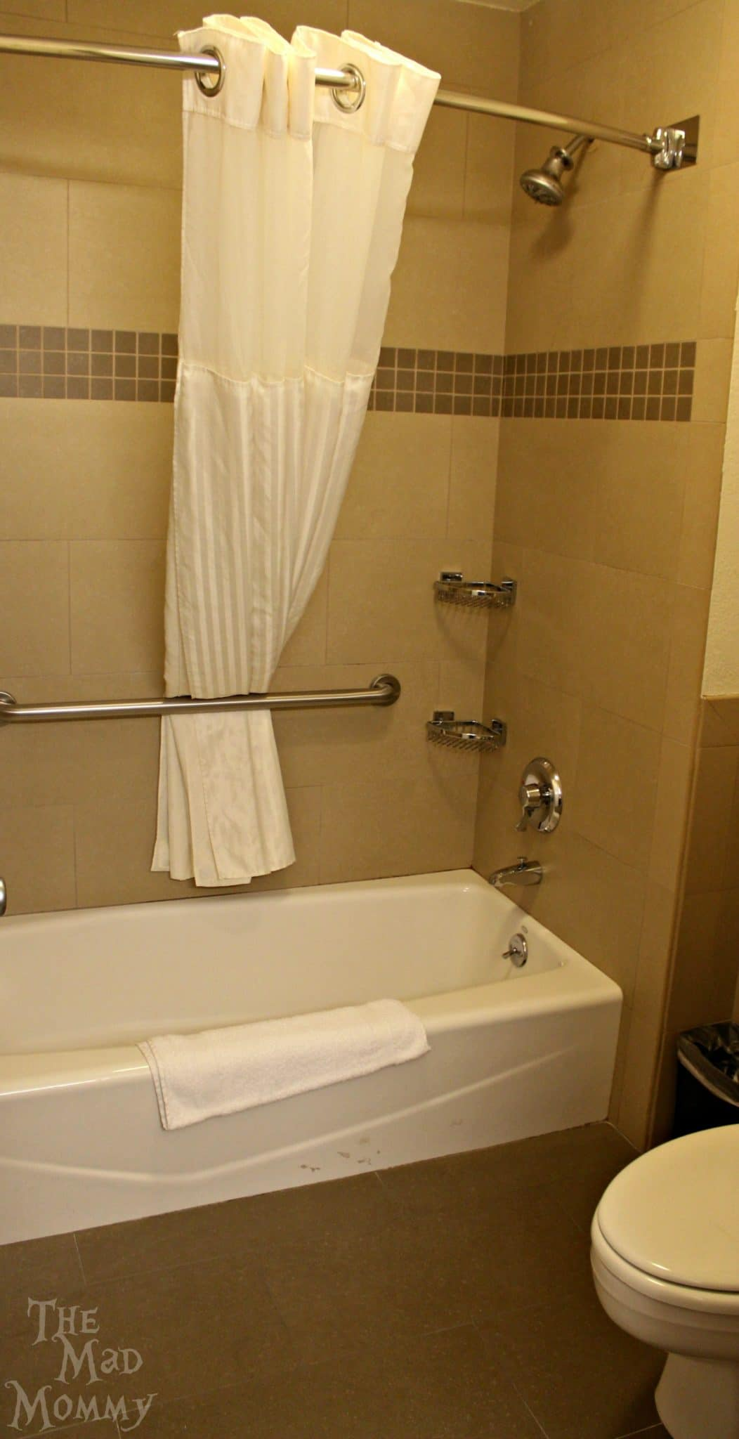 Bathroom in a standard room at the Best Western Plus Orange County North in Santa Ana, California.