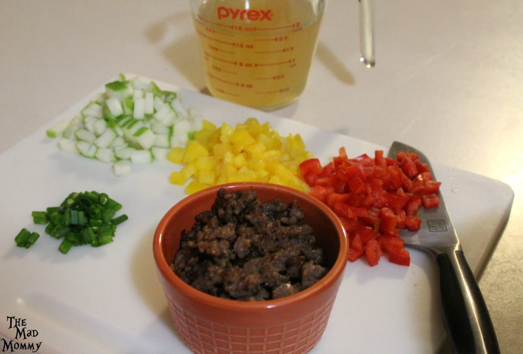 Prepping the ingredients for the Spicy Italian Sausage and Apple Stuffing.