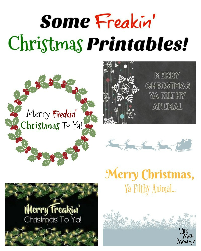 I see tons of beautiful, joyous, glittery and gilded Christmas printables being offered all over the internet, so I thought I should make you guys some freakin' Christmas printables!