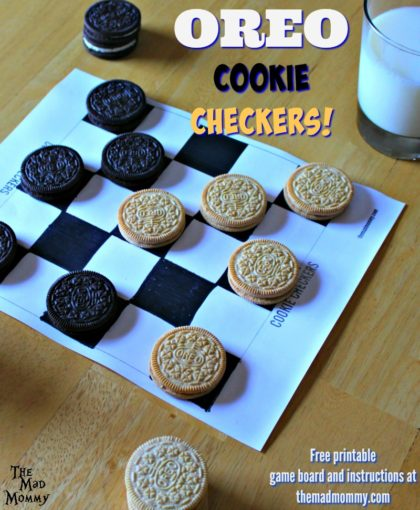 Get your #OREOSuperDunk Challenge on with this free printable Cookie Checker board and instruction set! Everyone will have a blast playing it! #Sponsored #CollectiveBias