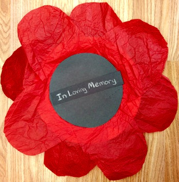 Encourage them to hang their red remembrance poppy on a wall, or door in observance of both Veterans Day or Memorial Day (or Remembrance Day!) and all of people who have served, or were tragically killed during battle.
