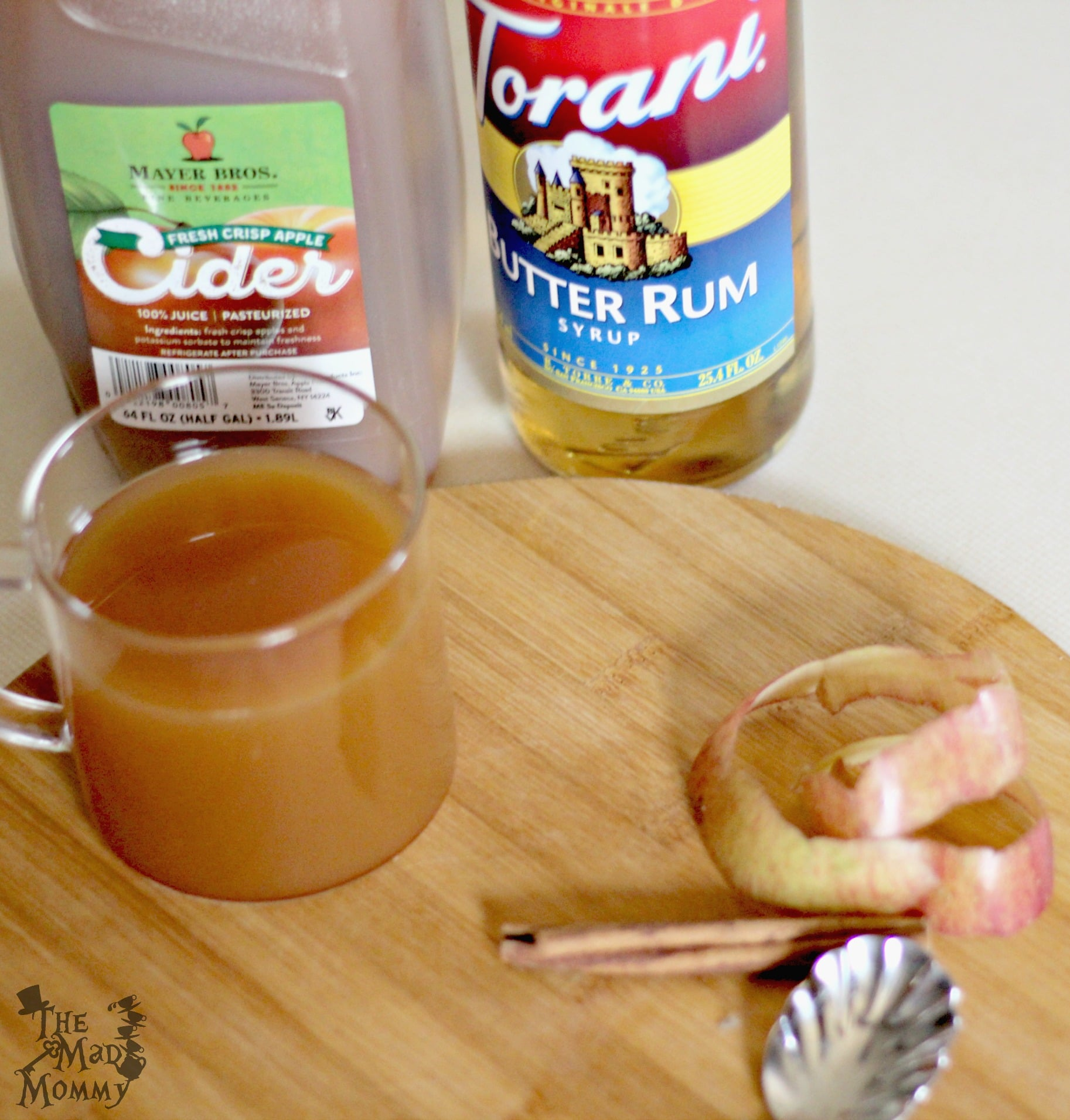 The ingredients for this super simple butter rum apple cider recipe.