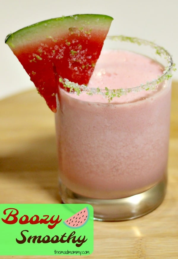 This boozy smoothy, featuring watermelon, is the perfect addition to any summer, adult, day!