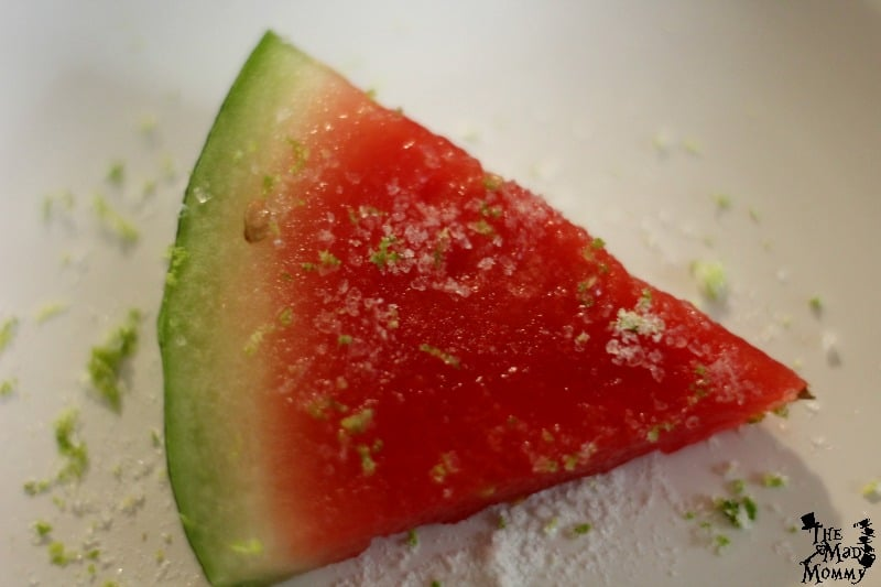Boozy Watermelon Smoothy garnish.