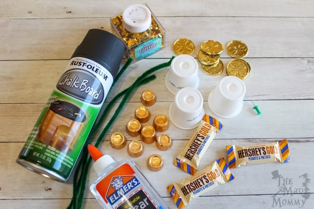 Supplies you'll need to make this k-cup craft for St. Patrick's Day.