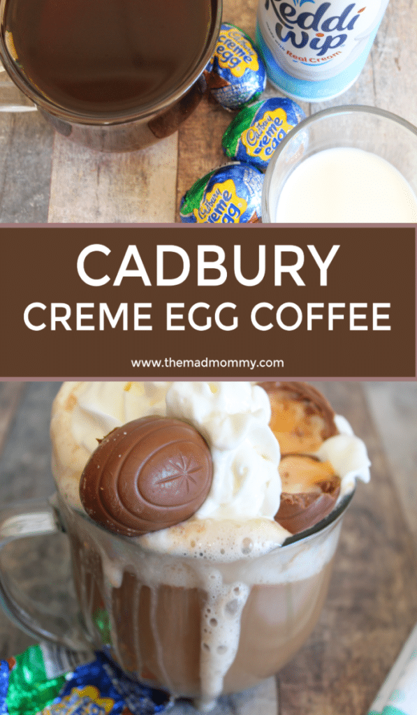 I have been experimenting with my own coffee recipes and I have been pleased with my results! Seeing as Easter is on its way, I came up with an awesome Cadbury Creme Egg Coffee recipe that will quench your caffeinated needs better than a store-bought Mocha!