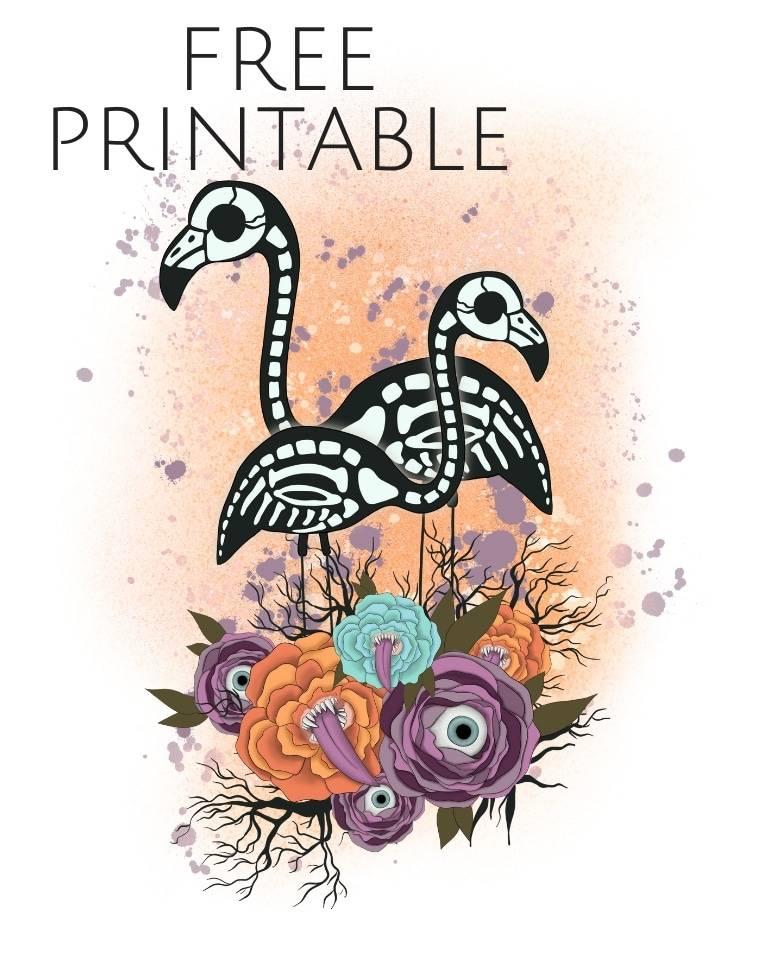 free printable skeleton flamingo