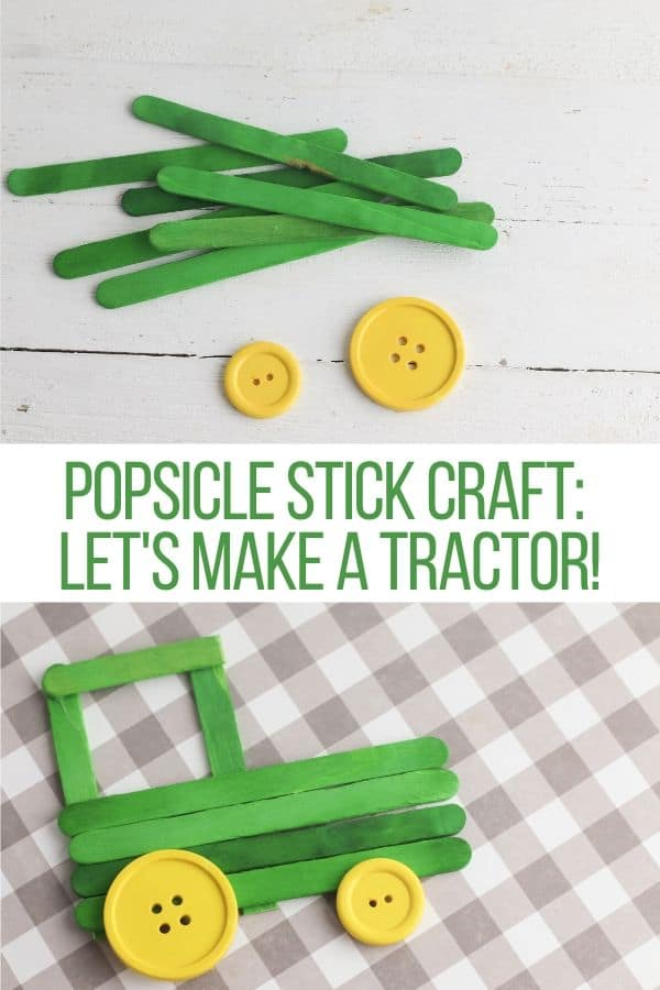 tractor made out of popsicle sticks and buttons