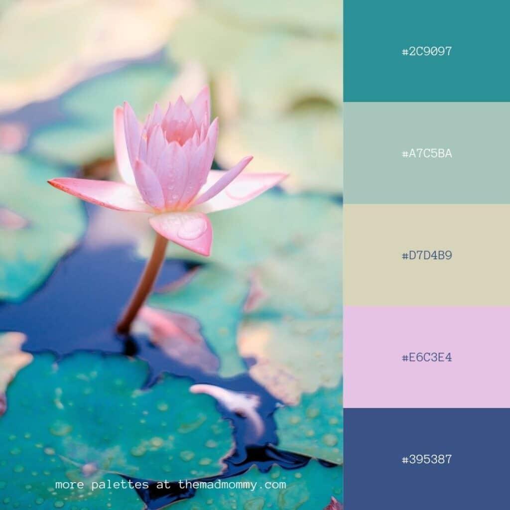 water lily color palette jewel tones