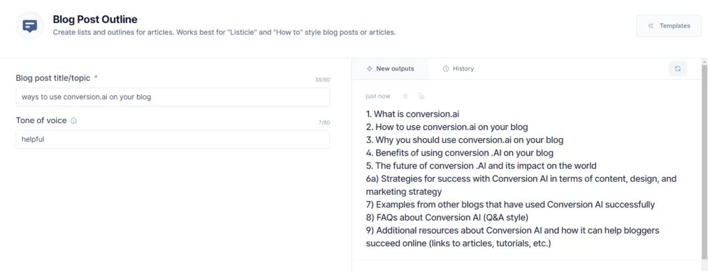 how to use conversion.ai screenshot