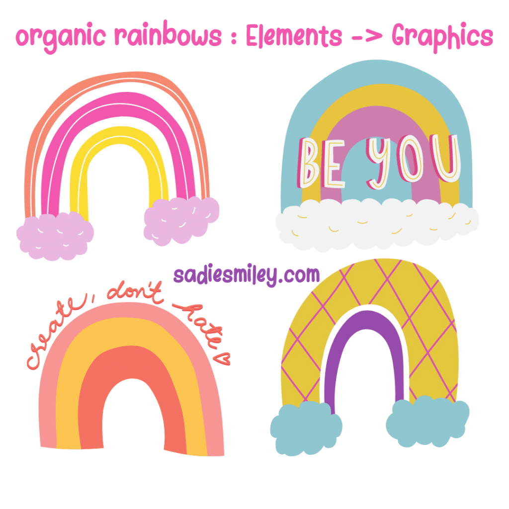hidden rainbow clip art elements in canva