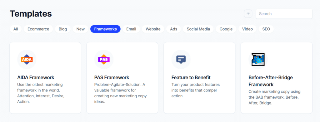 sales frameworks to copy and paste, sales templates, jarvis screenshot from conversion.ai